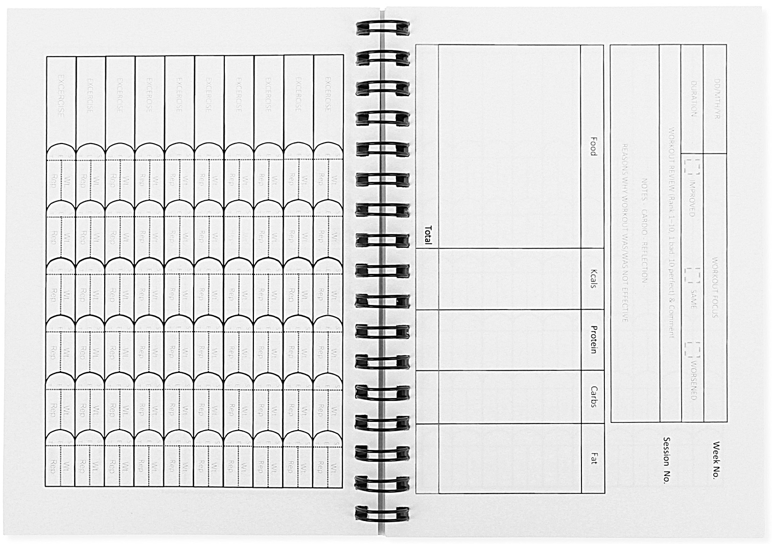 workout and nutrition log book